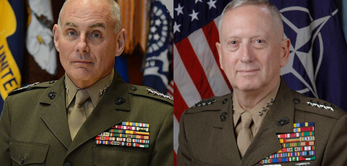 Chief of Staff John Kelly on the left, Secretary of Defense Jim Mattis on the right