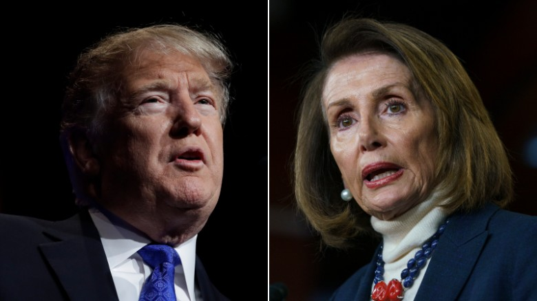 President Donald Trump on the left and Speaker Nancy Pelosi on the right