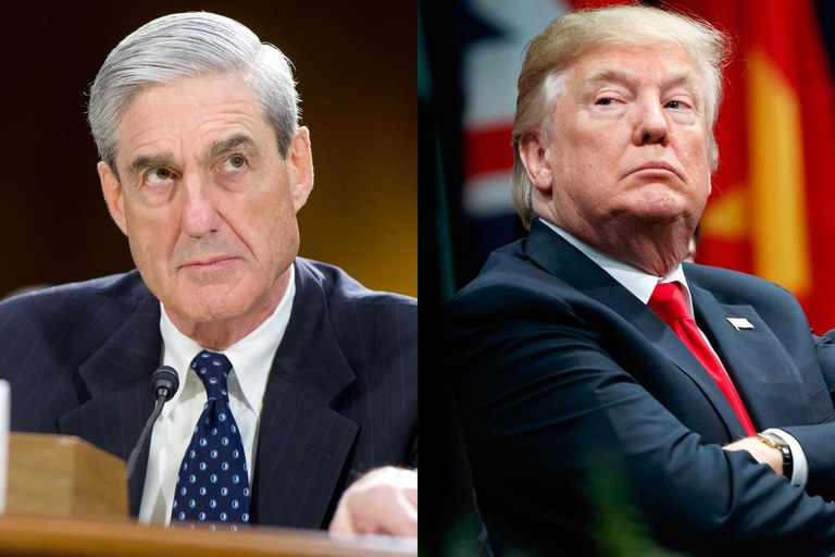 Robert Mueller on the right and President Donald  Trump on the left