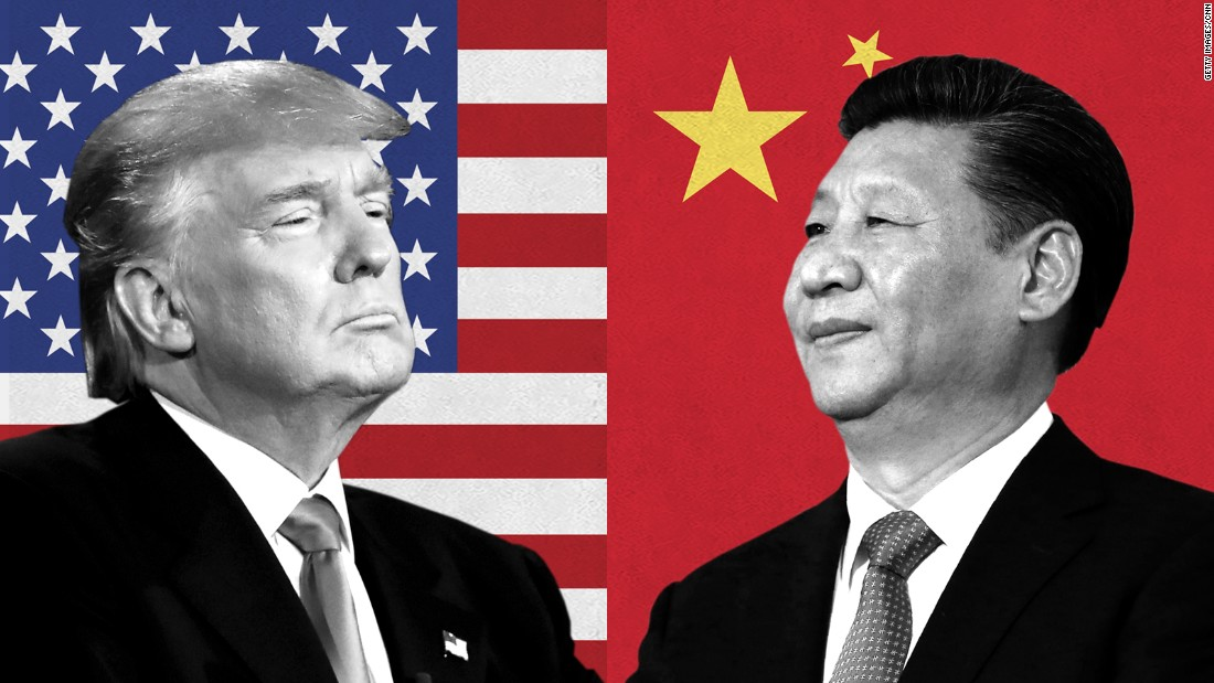 President Donald Trump left, President Xi Jinping right
