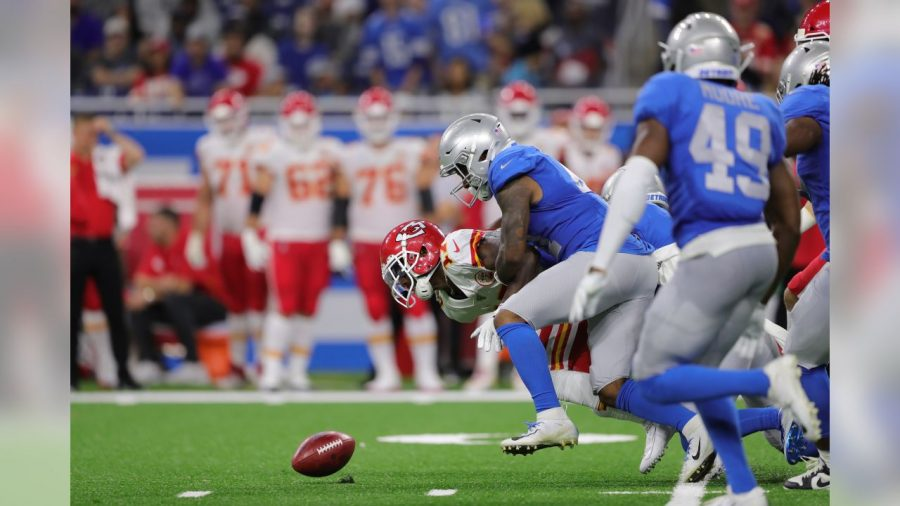 Detroit Lions cornerback Jamal Agnew forces a fumble on the opening second half kickoff versus the Kansas City Chiefs