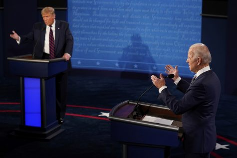 President Trump and Democratic presidential candidate Joe Biden during the first presidential debate Tuesday.(Morry Gash / Pool Photo )