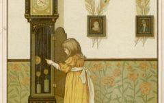 A little girl watches the pendulum of an ornate grandfather clock.