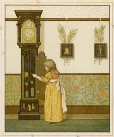 A little girl watches the pendulum of an ornate grandfather clock.