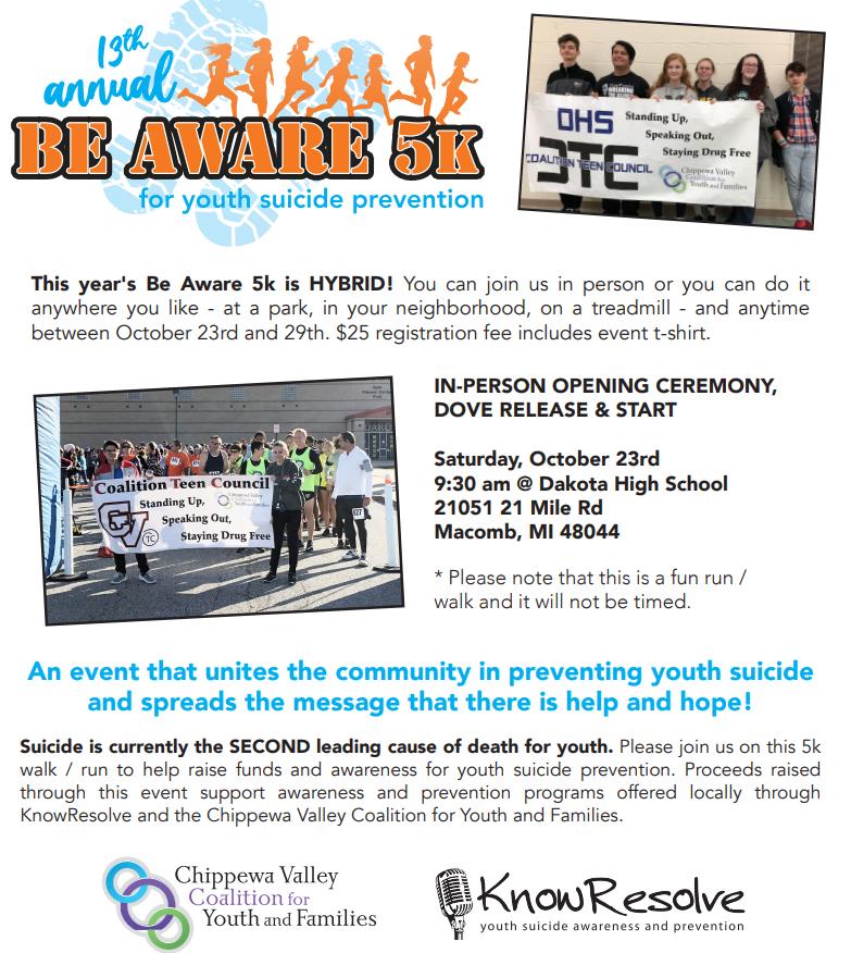 Be Aware Suicide Walk Flyer